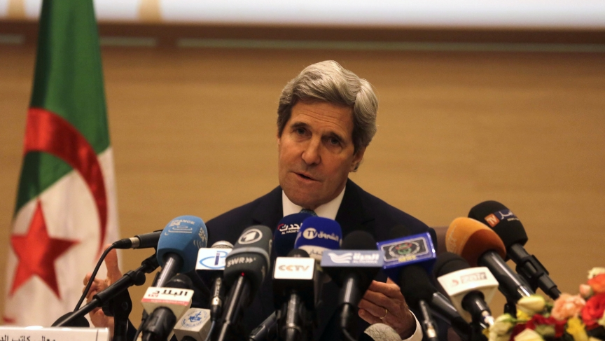 U.S. Secretary of State John Kerry addresses a news conference at the foreign ministry in the Algerian capital of Algiers on April 3, 2014.