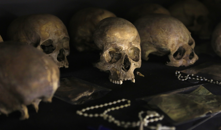 Preserved human skulls are seen on display at the Kigali Genocide Memorial Centre in Kigali, Rwanda.