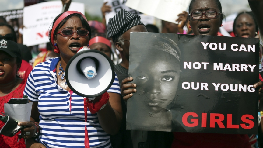 Protesters in Lagos demanding the release of abducted teenage school girls from the remote Nigerian village of Chibok.