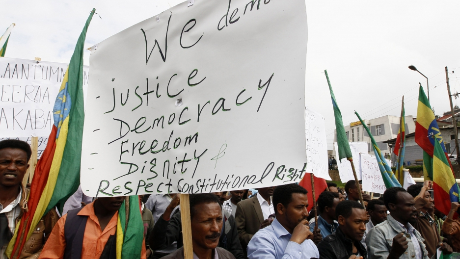 People attend a demonstration organized by opposition party the Ethiopian Federal Democratic Unity Forum in Ethiopia's capital of Addis Ababa, May 24, 2014.