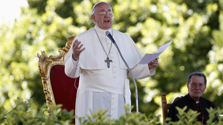 Pope Francis speaks outside the Castelpetroso sanctuary near Isernia in southern Italy on July 5, 2014. During the speech, he told students that environmental damage was a sin.