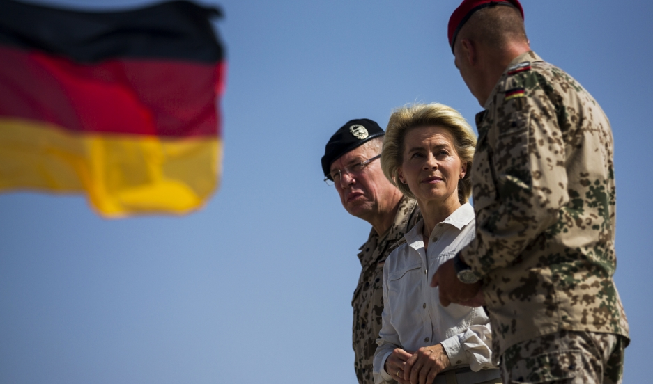 German Defense Minister Ursula von der Leyen visits Camp Shaheen outside Mazar-i-Sharif in Afghanistan, where German troops are stationed.