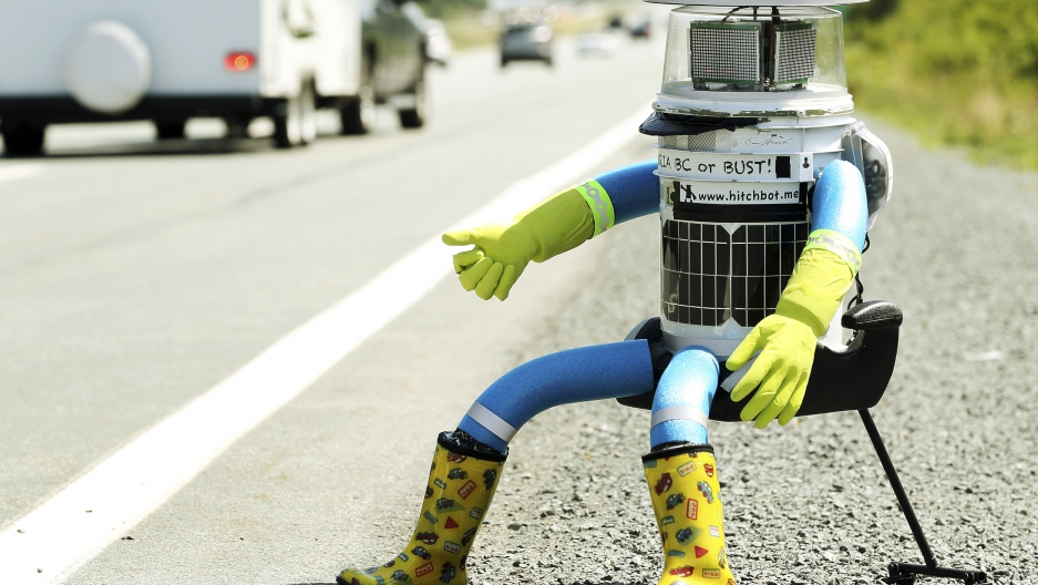 hitchBOT, the hitchhiking robot, was destroyed in Philadelphia.
