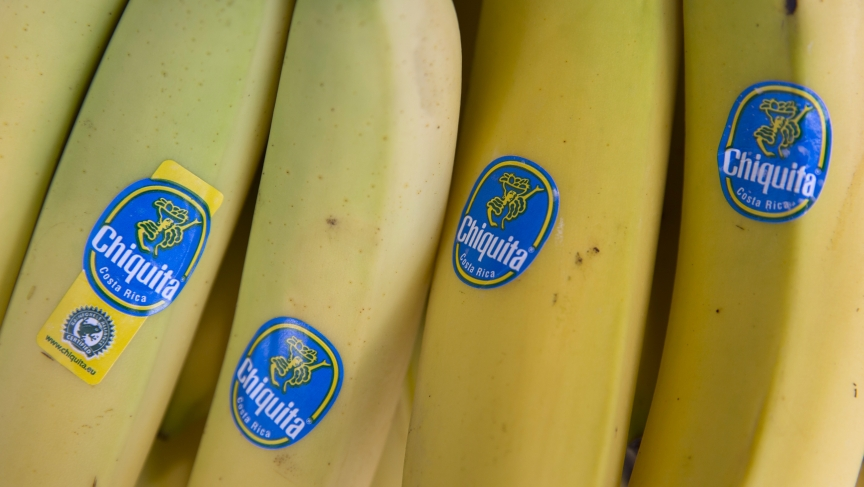 Chiquita bananas are displayed for sale in a London store. Shares in Irish banana company Fyffes slumped on Monday after Cutrale Group and Brazilian investment firm Safra Group offered to buy Chiquita Brands, threatening Fyffes' earlier deal with Chiquita
