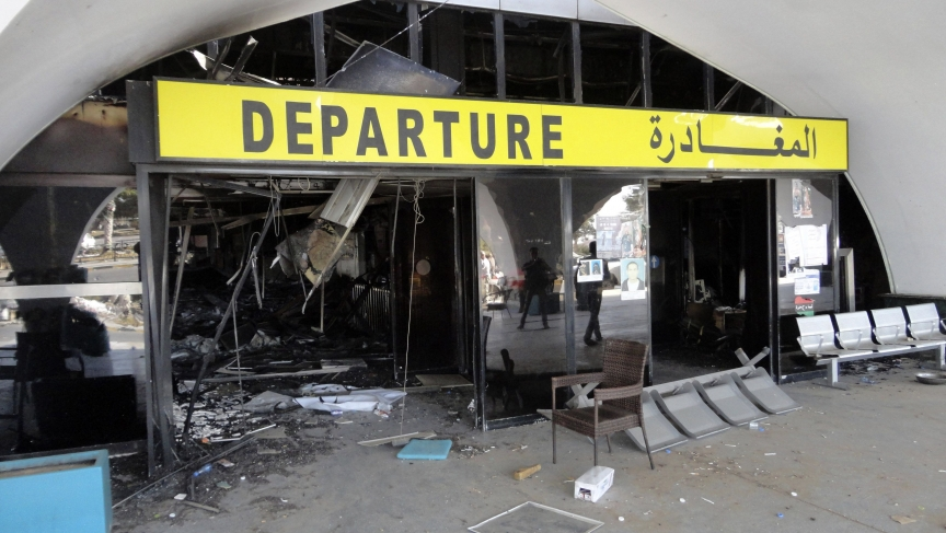 The passenger terminal at Tripoli's international airport after recent attacks.