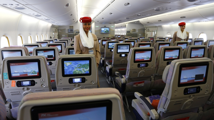 Economy class seats are pictured inside an Emirates Airbus A380.
