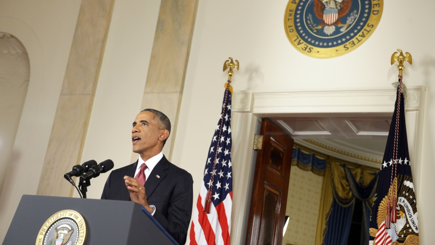 President Barack Obama delivering his address to the nation, Wednesday, on his plans for military action against the Islamic State, from the Cross Hall of the White House.