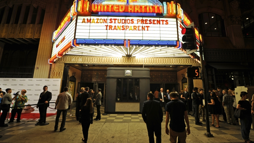 "The marquee of United Artists Theater during Amazon's premiere screening of the TV series ""Transparent"" in Los Angeles, California on September 15, 2014."