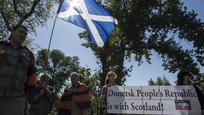 People attend a rally in support of Scotland's independence referendum, in Donetsk, eastern Ukraine.