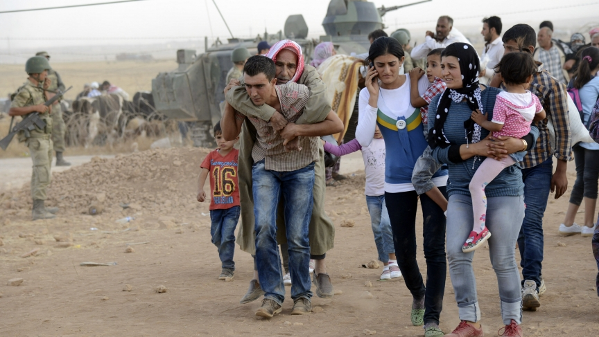 Syrian Kurds flee into Turkey this past weekend to escape attacks from Islamic State militants. Around 130,000 Kurds were given shelter inside of Turkey.