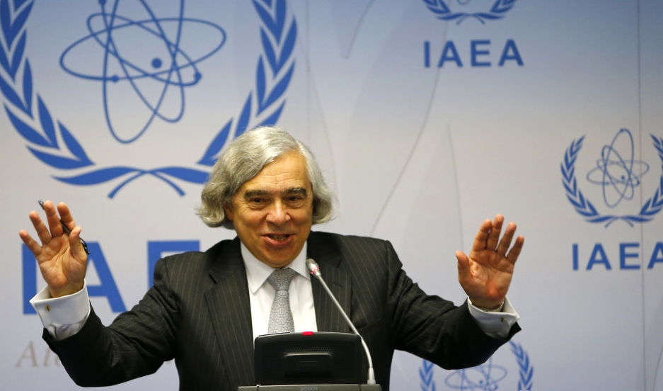 US Secretary of Energy Ernest Moniz addresses a news conference at the International Atomic Energy Agency (IAEA) headquarters in Vienna September 22, 2014.