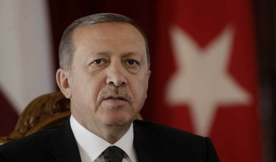 Turkey's president, Recep Tayyip Erdogan, speaks during a news conference in Riga, Latvia, on October 23, 2014.