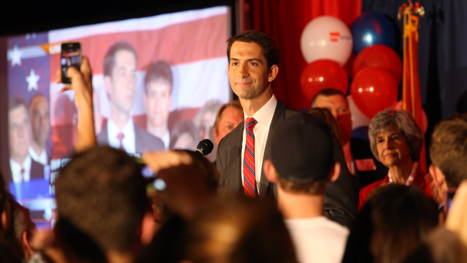 Republican Senator Tom Cotton speaks at his election victory party on November 4, 2014. The freshman senator from Arkansas is emerging as a vocal opponent of nuclear negotiations with Iran.
