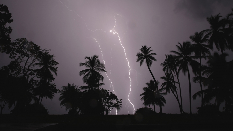 Lightning strikes over Lake Maracaibo in the village of Ologa, where the Catatumbo River feeds into the lake, in the western state of Zulia October 23, 2014.