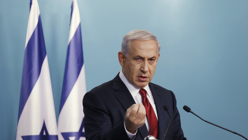 Israel's Prime Minister Benjamin Netanyahu delivers a statement to the media in Jerusalem following a terrorist attack on a West Jerusalem synagogue on November 18, 2014.