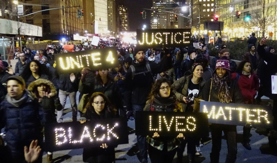 Protesters demonstrate in Lower Manhattan on December 4, 2014, demanding justice for the death of Eric Garner.