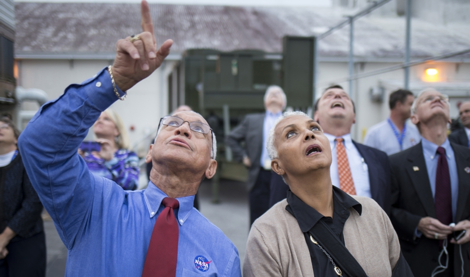 NASA Administrator Charles Bolden and his wife, Jackie, watch as the Delta IV Heavy rocket with the Orion spacecraft lifts off on December 5, 2014.