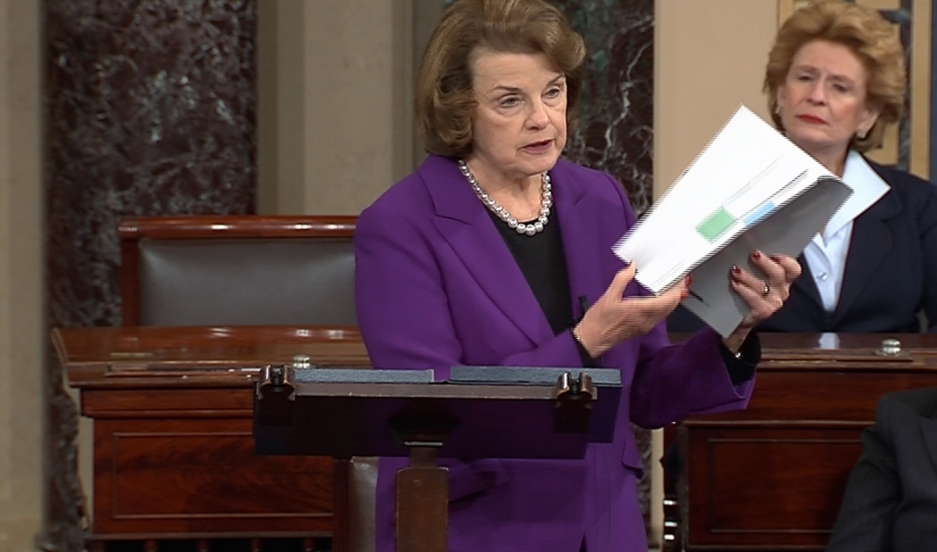 Senate Intelligence Committee Chairwoman Dianne Feinstein discusses the Intelligence Committee's report on the CIA's anti-terrorism tactics on December 9, 2014.