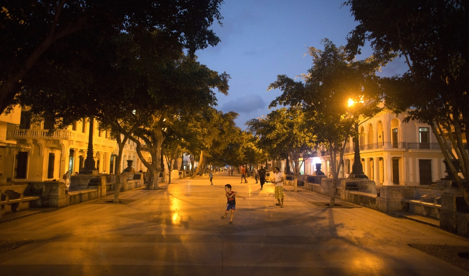 A child plays at the Prado Boulevard in downtown Havana.