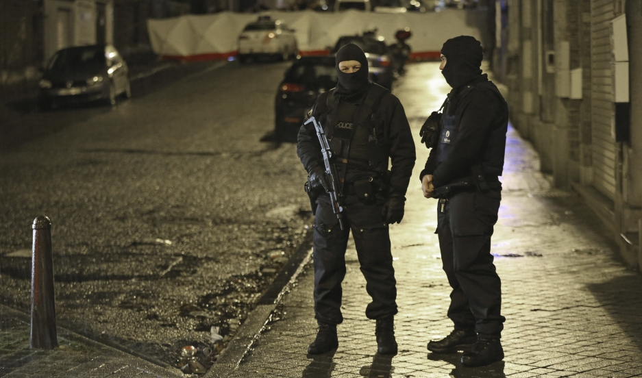 An increasingly common sight across Europe, heavily armed security forces on guard. These are Belgian special forces police, blocking a street in Verviers, near the scene of a deadly firefight with suspected Islamic militants on Thursday night.