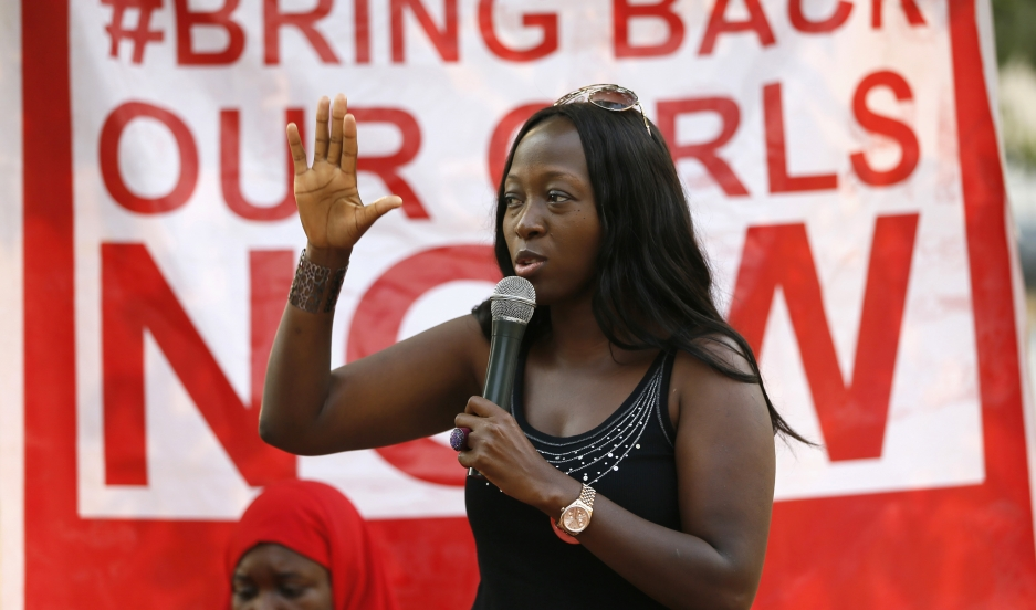 "Protestors with the Abuja ""Bring Back Our Girls"" chapter demonstrate at Unity Fountain in Abuja on January 25, 2015."