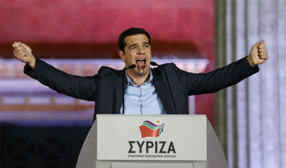 The head of radical leftist Syriza party Alexis Tsipras speaks to supporters after winning the elections in Athens January 25, 2015