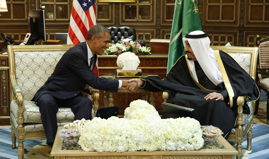 President Barack Obama shakes hands with Saudi Arabia's King Salman at the start of a meeting at Erga Palace in Riyadh.