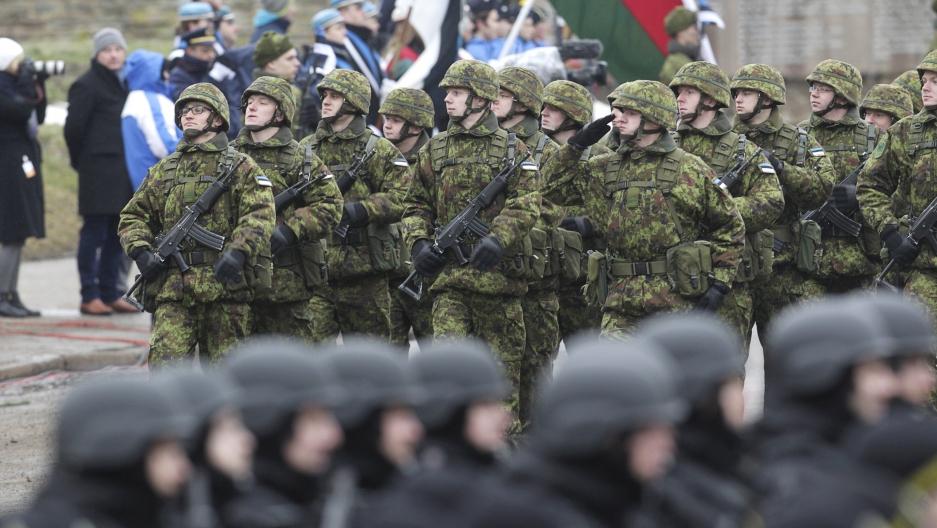 Estonia Narva border military parade