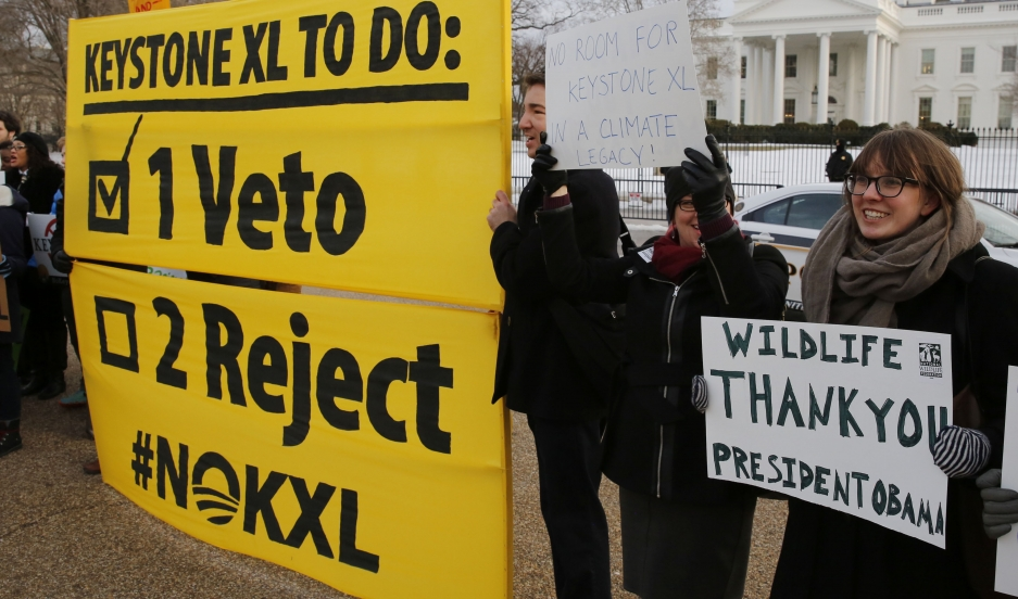 Veto supporters rally in front of the White House on February 24, 2015, the same day President Barack Obama vetoed a Republican bill approving the Keystone XL oil pipeline from Canada.