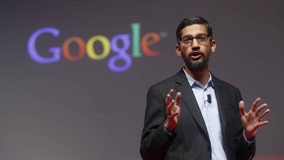 Sundar Pichai presenting at a conference in Spain