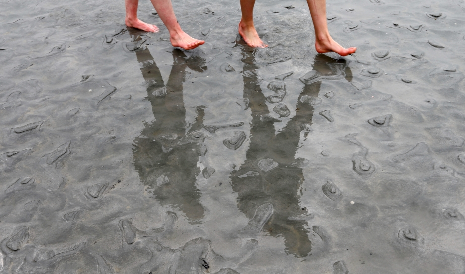 People cast shadows on the sand as they walk at low tide.