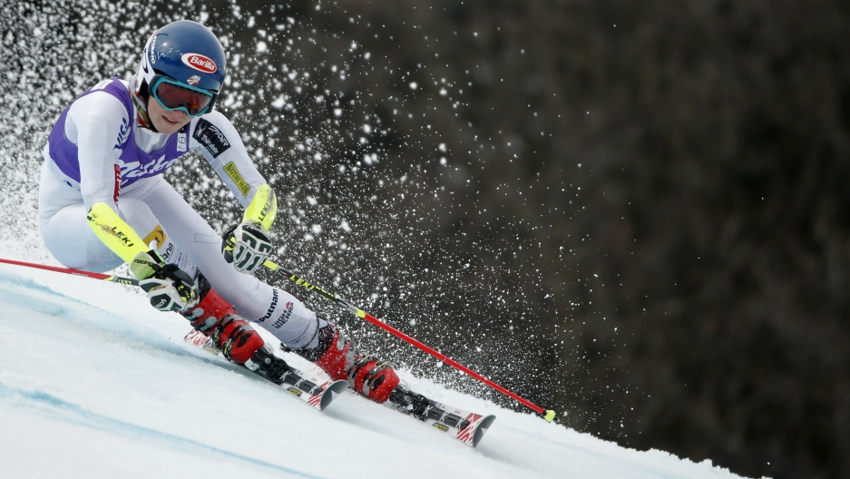 Mikaela Shiffrin of the U.S. at the Alpine Skiing World Cup Finals in Meribel, in the French Alps, March 22, 2015.