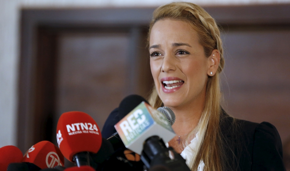 Lilian Tintori, wife of Venezuela's jailed opposition leader, Leopoldo Lopez, addresses the media during an event in support of jailed political opponents in Venezuela in Panama City on April 9, 2015.