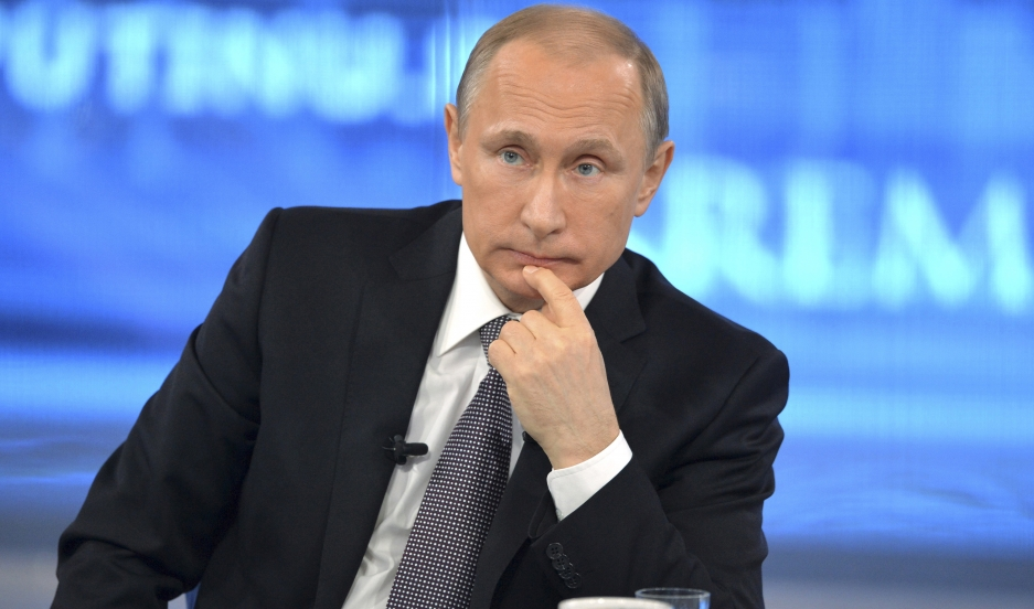 Russian President Vladimir Putin takes part in a live broadcast nationwide call-in in Moscow April 16, 2015.