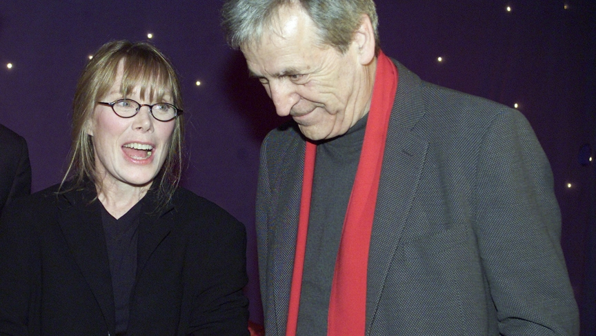 "Actress Sissy Spacek and director Costa Gavras talk before the start of the Charles Horman Truth Project 2002 Human Rights Awards in New York City. Gavras directed and Spacek starred in the film ""Missing."""