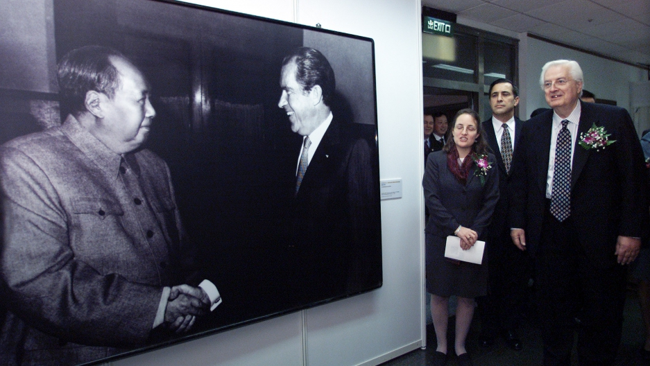 "A 2002 exhibition in Shanghai called ""Journeys to Peace and Cooperation"" showcases the 30th anniversary of U.S. President Richard Nixon's historic visit to China in 1972."