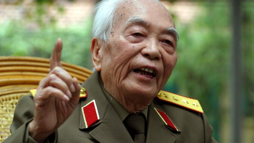 General Vo Nguyen Giap speaking during an interview in Hanoi, in 2004, on the 50th anniversary of his stunning and decisive defeat of the French at Dien Bien Phu.