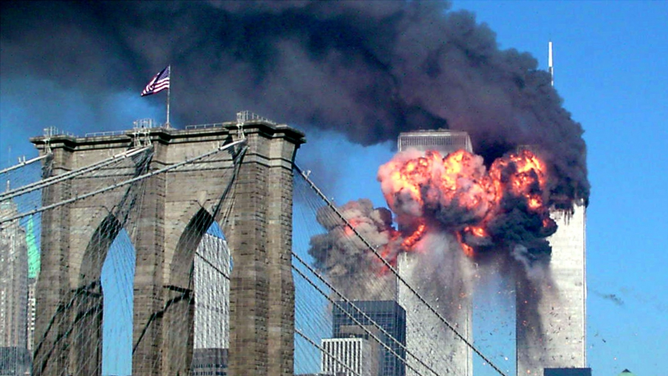 The second tower of the World Trade Center in New York City explodes into flames after being hit by a plane, hijacked by al-Qaeda, on September 11th 2001