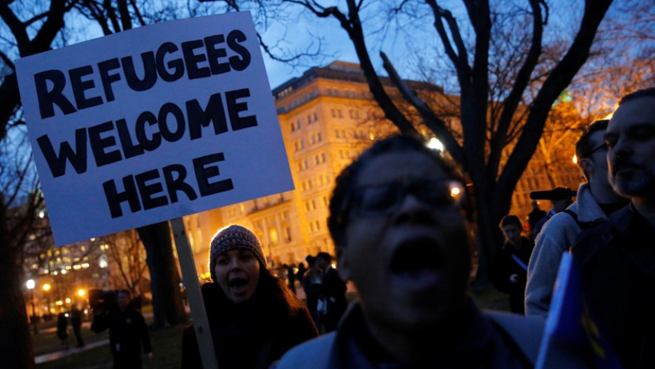 Demonstrators rallied against the Trump administration's new ban on new refugees and against travelers from six Muslim-majority nations, outside the White House in Washington on March 6.