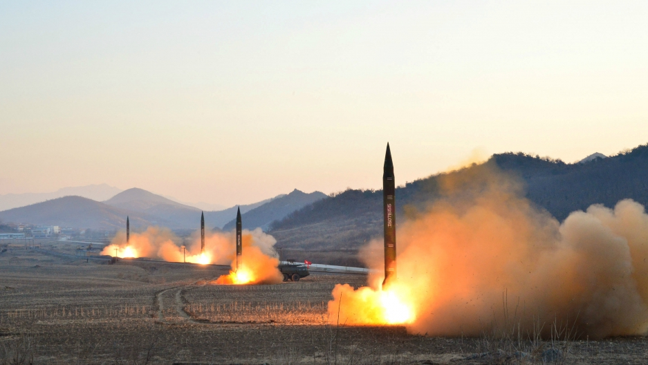 North Korean leader Kim Jong-un supervised a ballistic rocket launching drill of Hwasong artillery units of the Strategic Force of the KPA on the spot in this undated photo released by North Korea's Korean Central News Agency (KCNA) in Pyongyang, March 7,