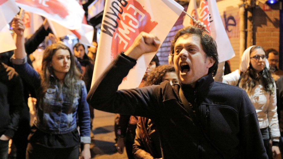 Youth in Istanbul, Turkey protest the results of a referendum on their president's powers.