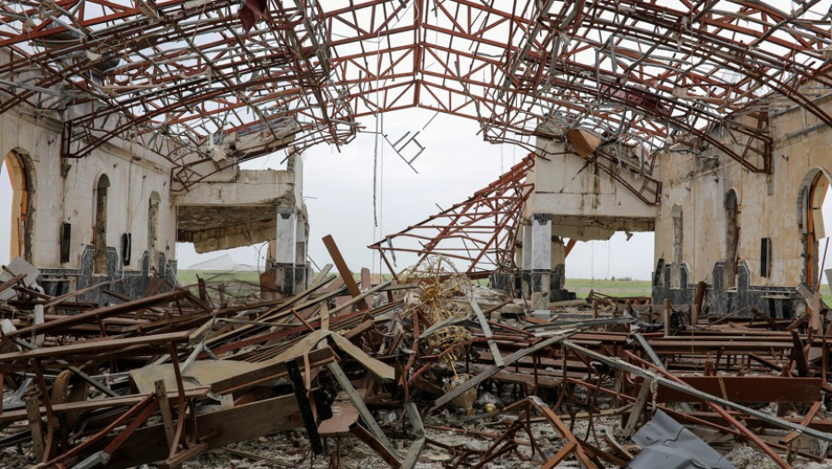 The remains of a destroyed church in the town of Qaraqosh, south of Mosul, Iraq, on April 13.