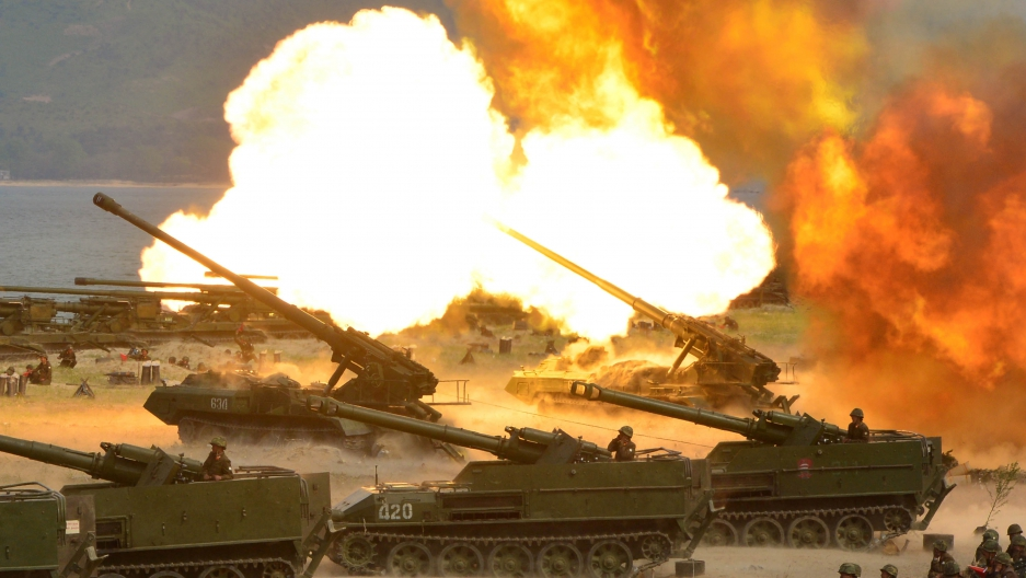 A North Korean military exercise is seen in this handout photo made available April 26th 2017.