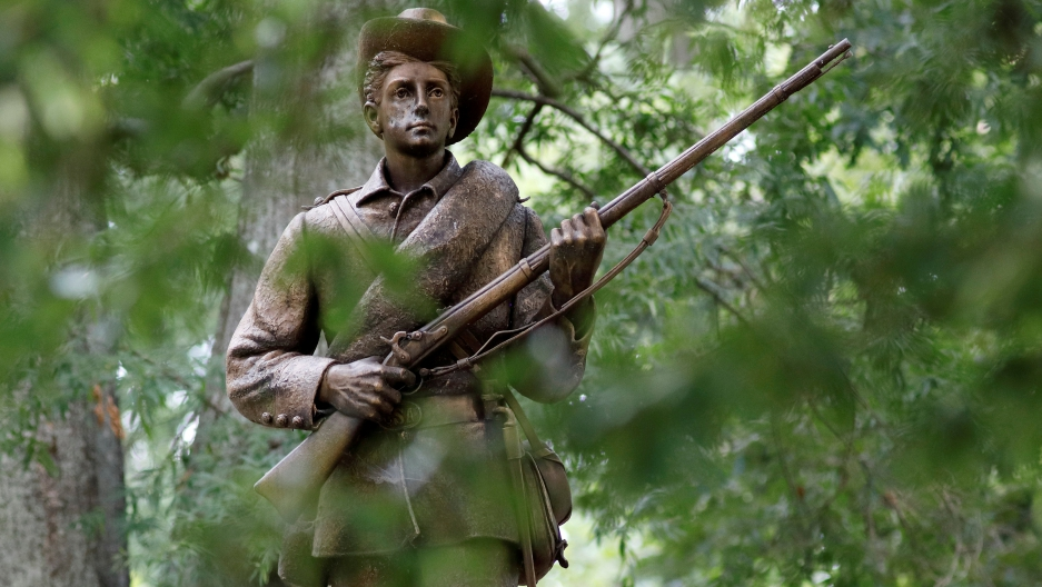 A statue of a Confederate soldier nicknamed Silent Sam stands on the campus of the University of North Carolina in Chapel Hill, North Carolina, U.S. August 17, 2017.