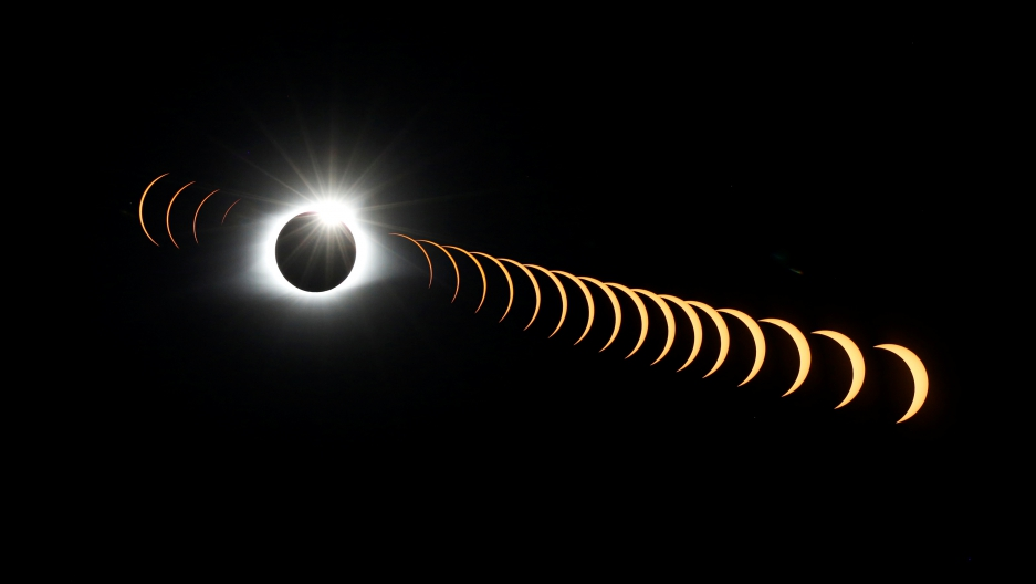 time-lapse eclipse photo