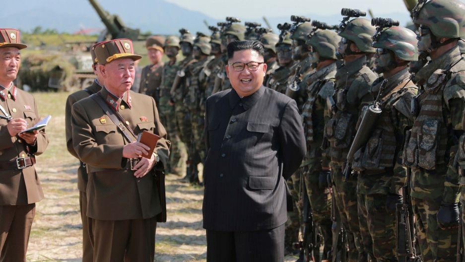 North Korean leader Kim Jong Un guides a target-striking contest of the special operation forces of the Korean People's Army (KPA).