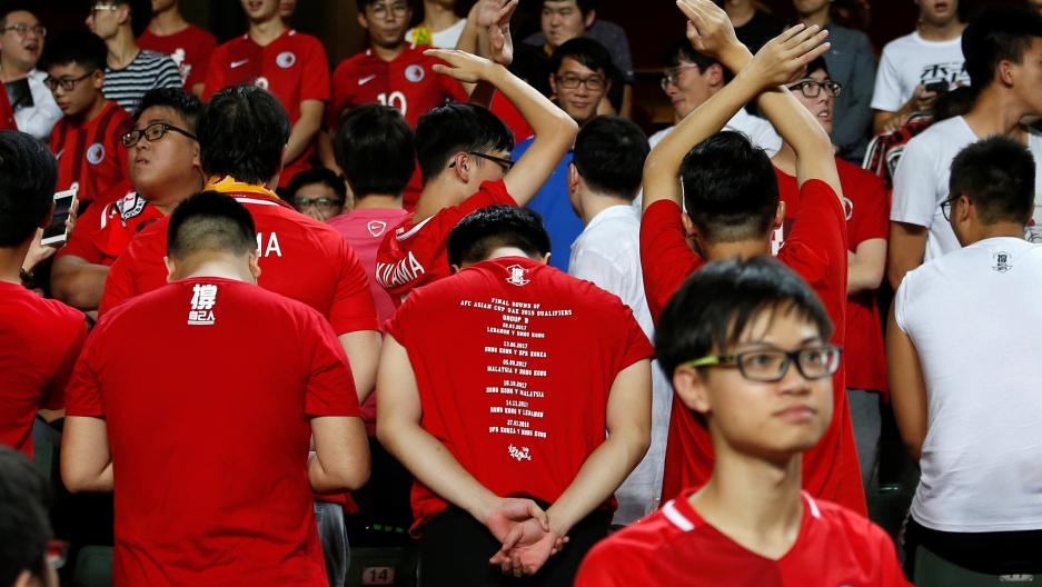 Hong Kong fans turn their backs during Chinese national anthem before the Hong Kong v Malaysia - AFC Asian Cup Qualifiers.