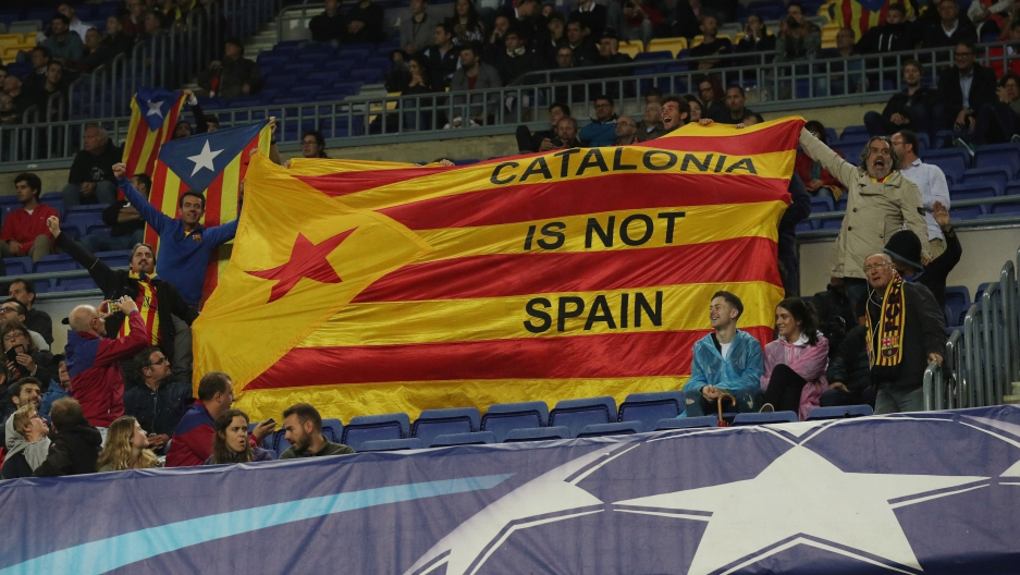 Barcelona soccer fans make their feelings known about Catalan independence, at a game on Wednesday Oct 18th 2017
