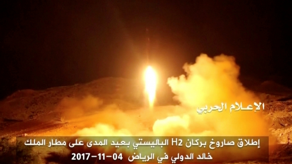 the launch by Houthi forces of a ballistic missile aimed at Riyadh's King Khaled Airport