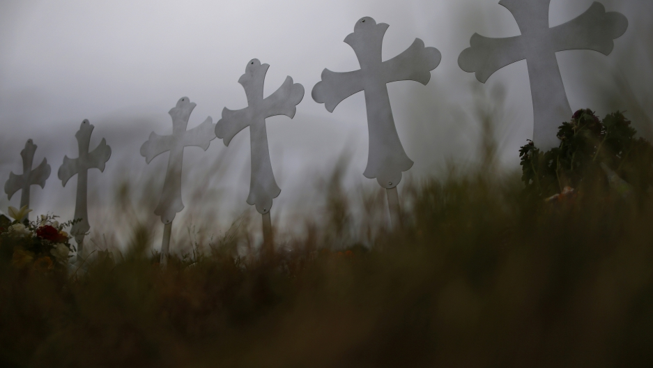 Crosses are seen placed at a memorial in memory of the victims killed in the shooting at the First Baptist Church of Sutherland Springs in Sutherland Springs, Texas, U.S., November 8, 2017.
